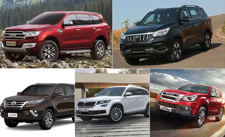 SUV comparison Ford Endeavour vs Toyota Fortuner vs Isuzu MUX vs Mahindra Alturas