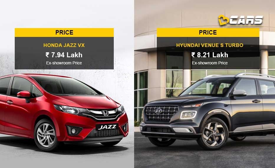 Honda Jazz VX vs Hyundai Venue S Turbo Price Comparison