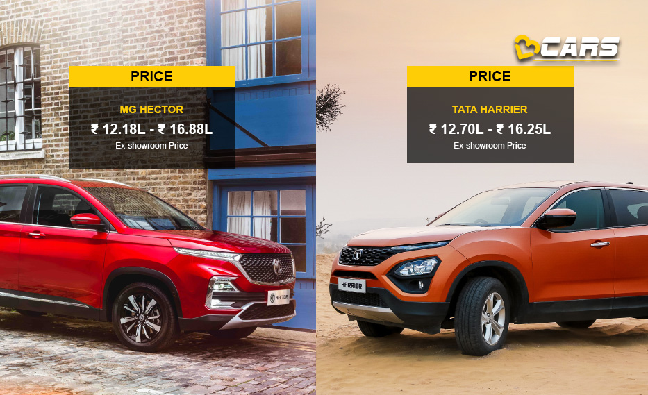 MG Hector vs Tata Harrier Price Comparison