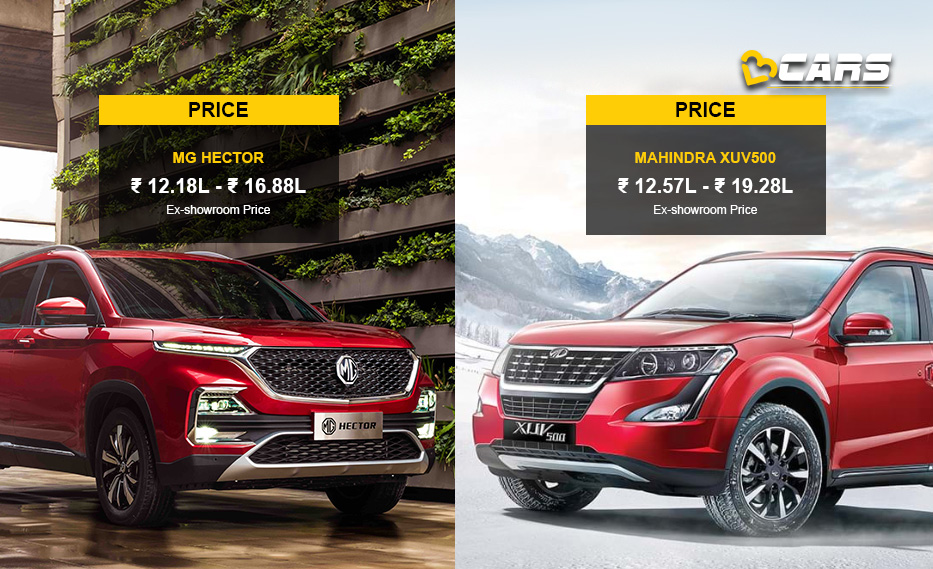 MG Hector vs Mahindra XUV500 Price Comparison