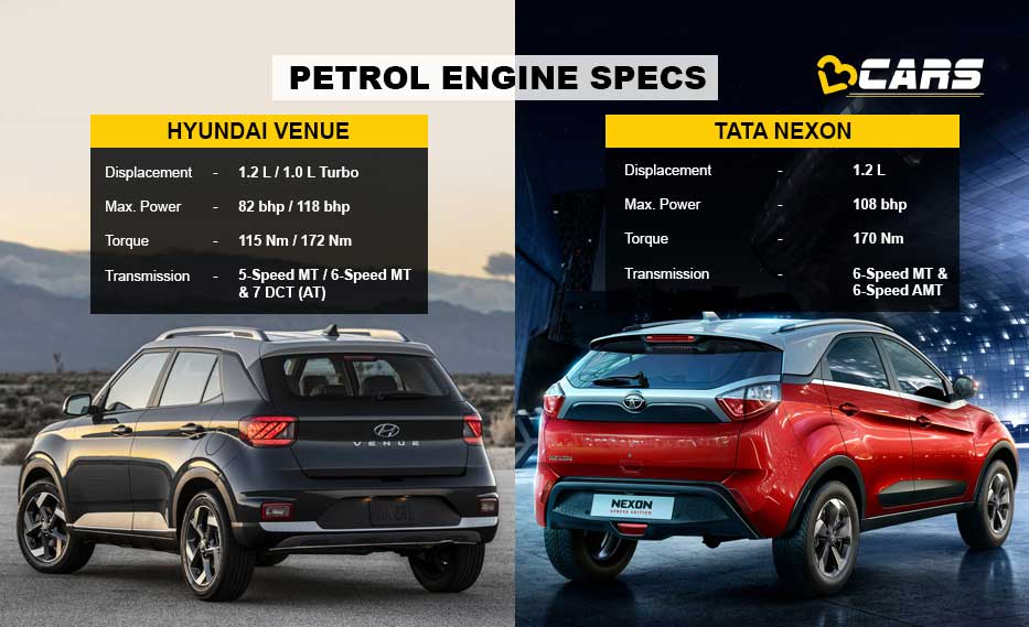 Venue vs Nexon Petrol Engine comparison