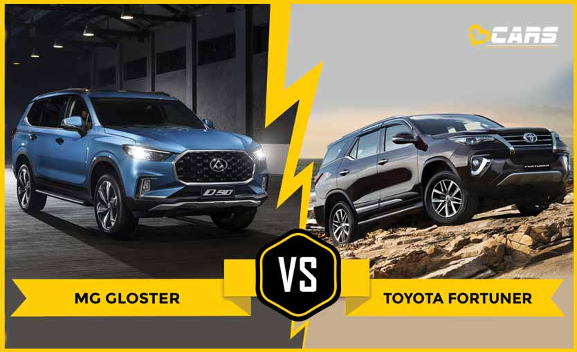 Mg Gloster vs Toyota Fortuner dimensions comparison
